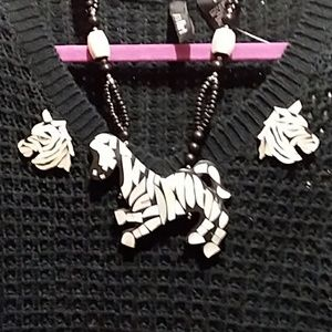 Jewelry - Zebra necklace and earrings